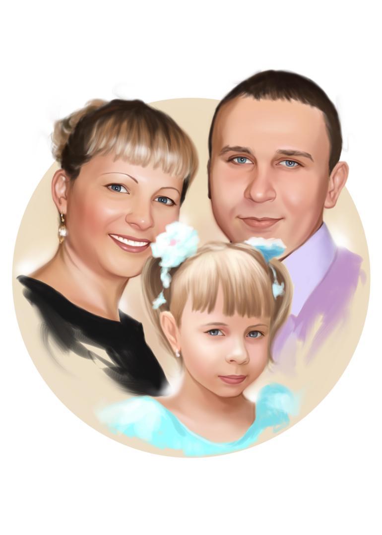 Семейный портрет по фото на холсте в Тюмени — правильный подарок!