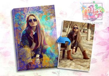 Портрет по фото на заказ в честь 8 марта в Тюмени