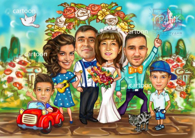 Шарж по фото на годовщину свадьбы на заказ в Тюмени…
