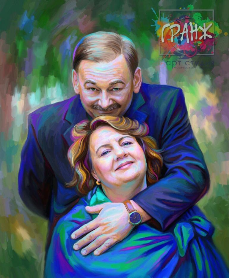 Портрет по фото на холсте — оригинальный подарок на семейный праздник Тюмень